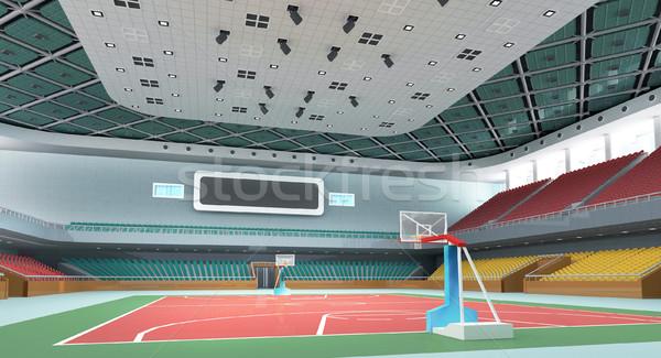 3D sala gimnastyczna nowoczesne drewna koszykówki Zdjęcia stock © wxin