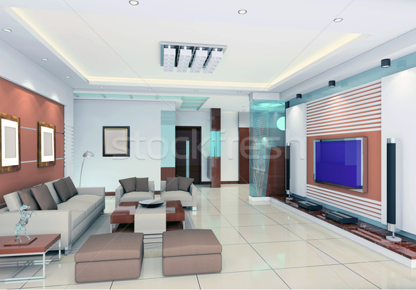3d render modern interior of living-room Stock photo © wxin