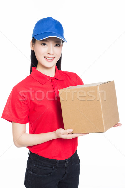 Házhozszállítás nő hordoz kartondoboz fehér boldog Stock fotó © wxin