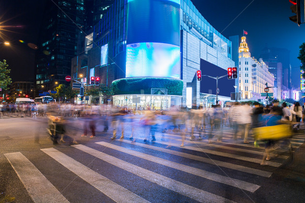 night scenery of the city, crossing at night, burred crowd Stock photo © wxin