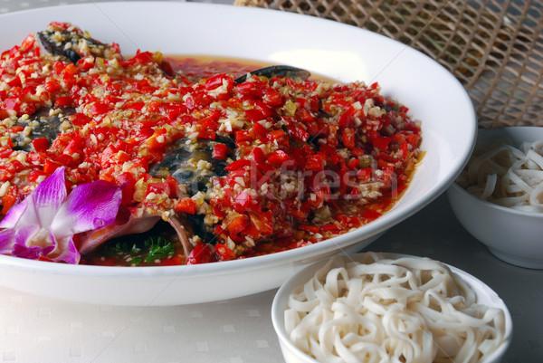 Chili vis hoofd voedsel restaurant kok Stockfoto © wxin