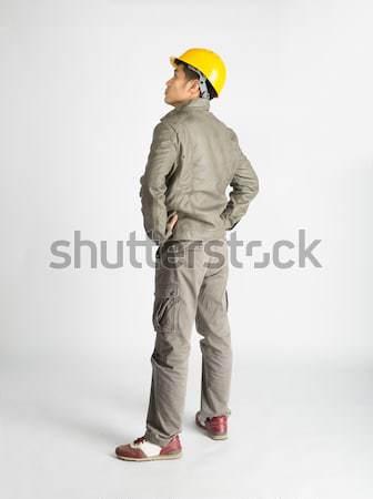 Stock fotó: építőmunkás · stock · kép · férfi · fehér · férfi