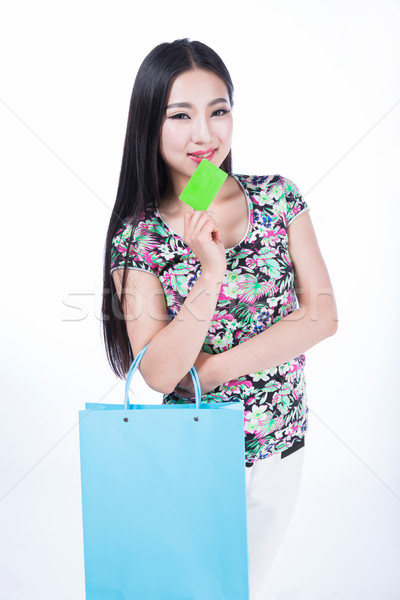 Jonge vrouw creditcard witte aantrekkelijk meisje vrouw Stockfoto © wxin