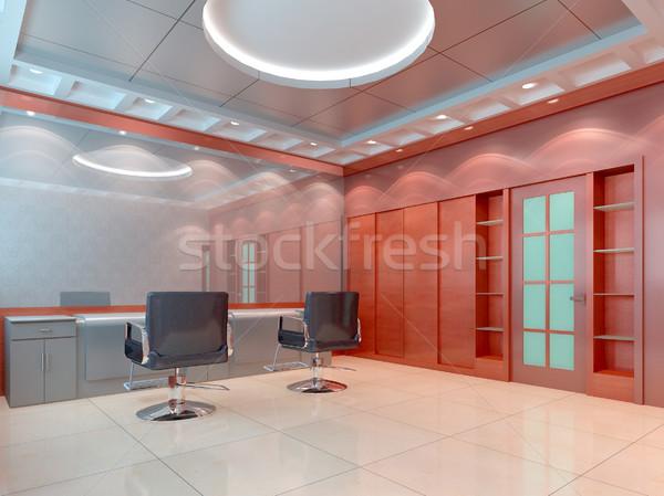 3D kapsalon barbier winkel interieur 3d render Stockfoto © wxin