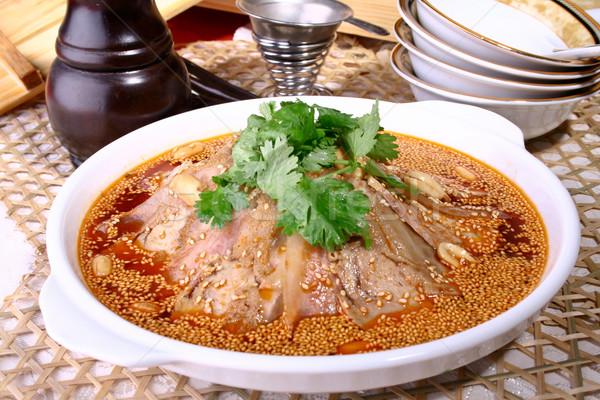 Çin çili sos domuz eti susam etrafında Stok fotoğraf © wxin