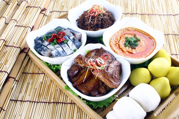 étel Kína disznóhús hal finom száj Stock fotó © wxin