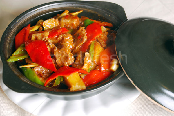 china delicious food-chili beef Stock photo © wxin