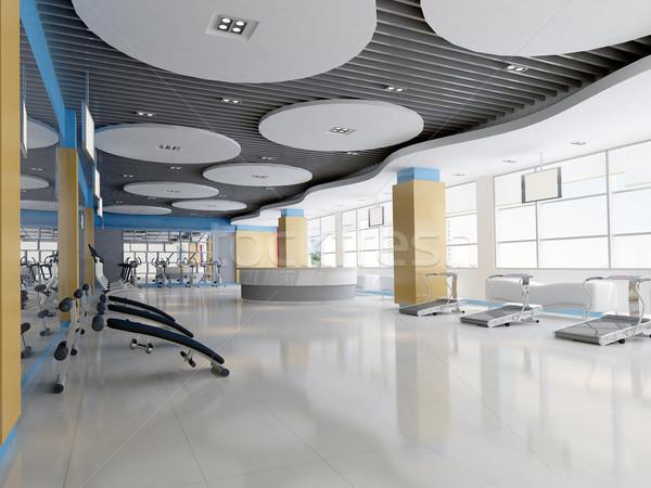 3D sala gimnastyczna nowoczesne szkoły ciało Zdjęcia stock © wxin
