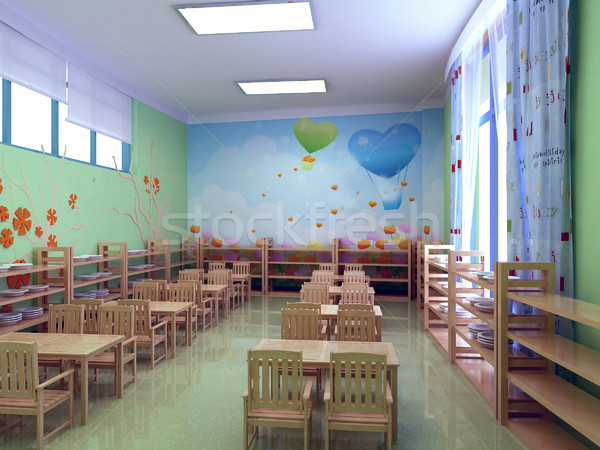 3D Kindergarten Restaurant modernen 3d render Party Stock foto © wxin