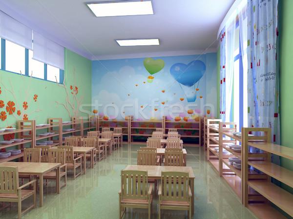 3D kleuterschool restaurant moderne 3d render partij Stockfoto © wxin