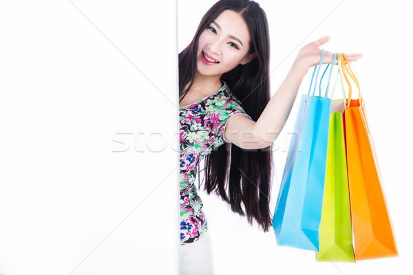 Jonge vrouw witte jonge brunette vrouw Stockfoto © wxin