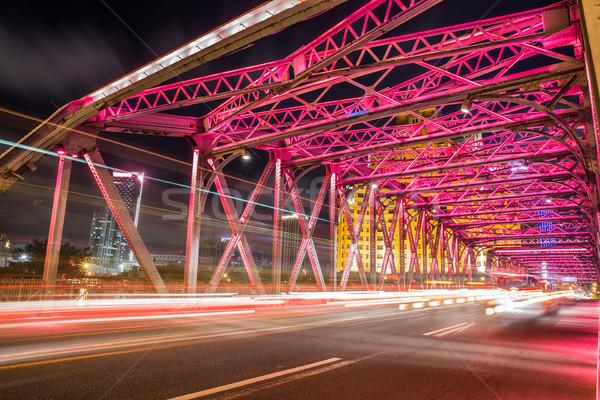 моста Шанхай Китай свет город движения Сток-фото © wxin