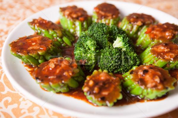 Chinês delicioso comida brócolis frito amargo Foto stock © wxin