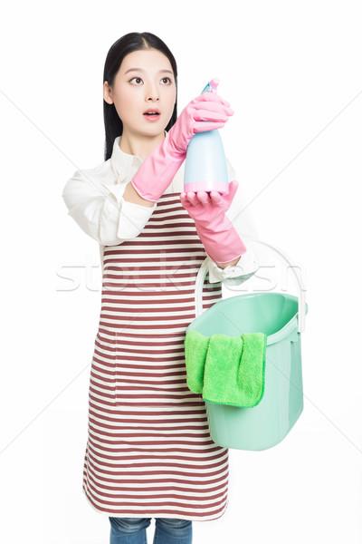 Stok fotoğraf: Genç · kadın · temizlik · beyaz · güzel · kız · ayakta