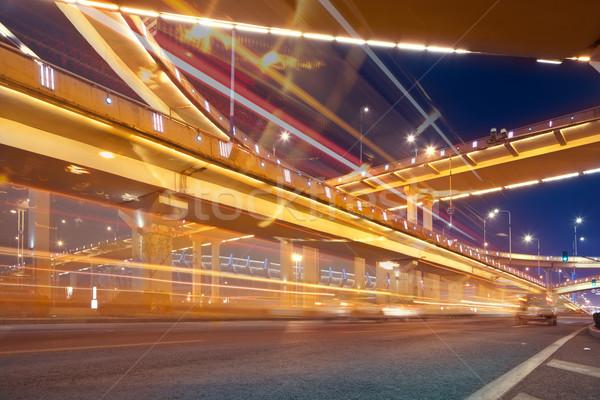 шоссе ночь свет Шанхай Китай небе Сток-фото © wxin