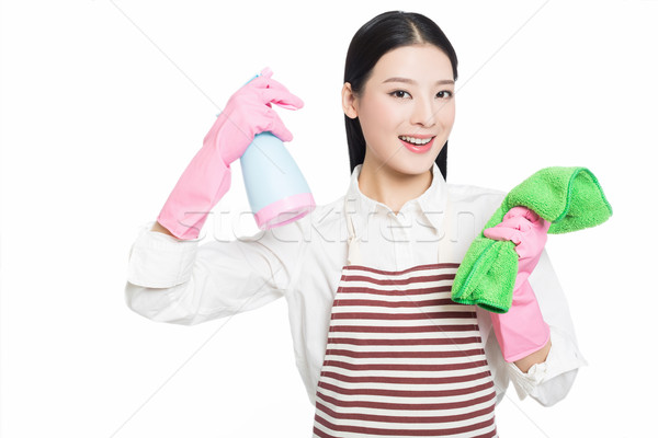 young woman cleaning on white Stock photo © wxin