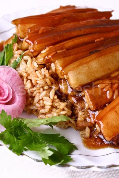 Stock fotó: étel · Kína · disznóhús · rizs · finom · száj