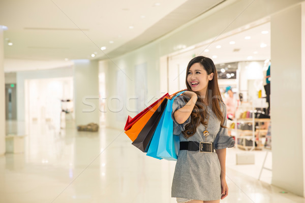 young woman shopping in mall Stock photo © wxin