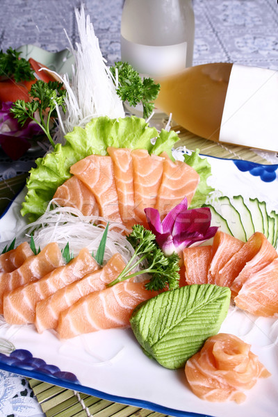 Çin yemeği somon sashimi sebze etrafında gıda Stok fotoğraf © wxin