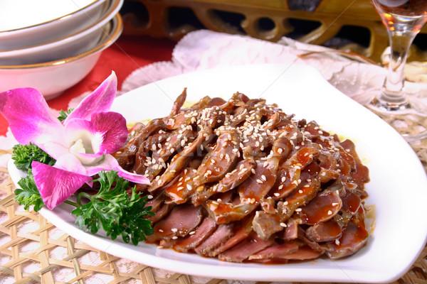 Kínai étel tyúk szezám hideg edény virág Stock fotó © wxin