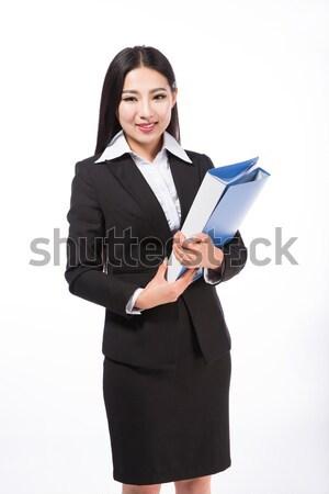 üzletasszony izolált fehér mosolyog iroda munka Stock fotó © wxin