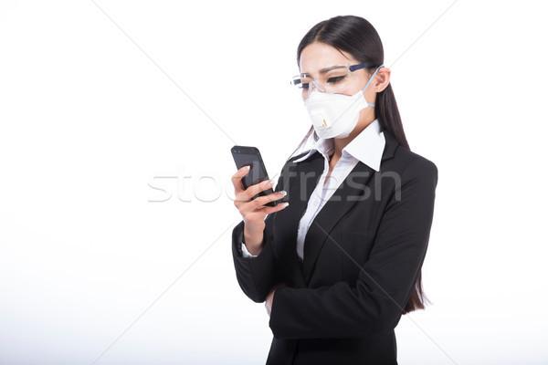 Nő visel maszk fekete haj lány arc Stock fotó © wxin