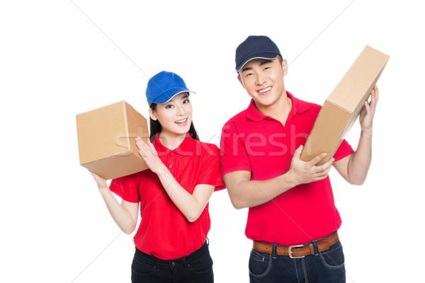 Stock fotó: Fiatalember · nő · hordoz · kartondoboz · fehér · boldog