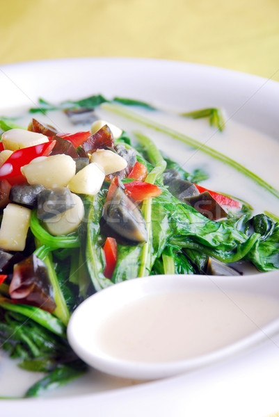 food in china-- preserved egg and spinach soup Stock photo © wxin
