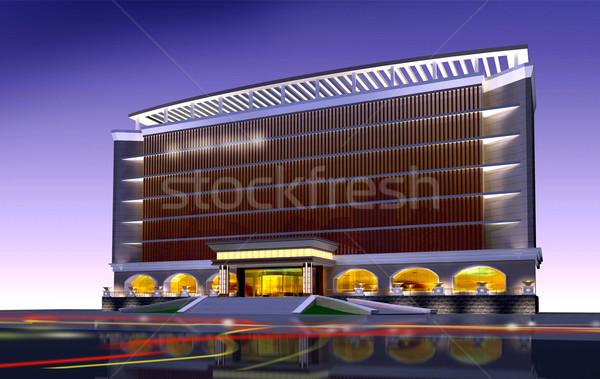 3D mimari inşaat ofis binası modern şehir Stok fotoğraf © wxin