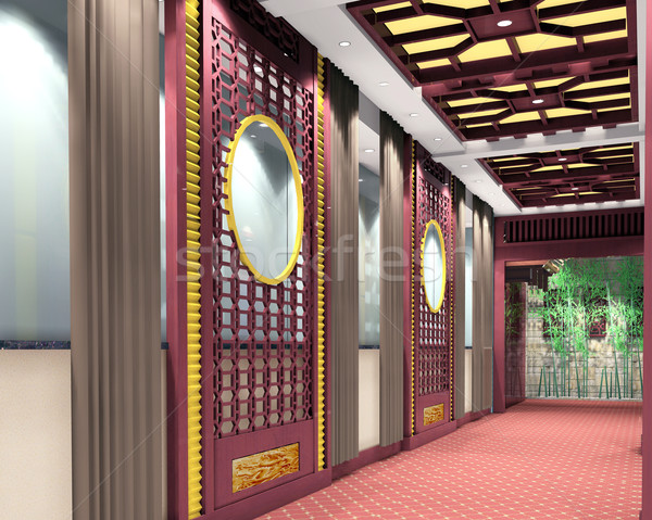 Stock fotó: 3D · folyosó · futurisztikus · modern · 3d · render · üzlet