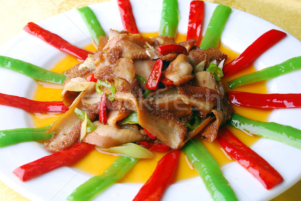 china delicious food-chili fried pig stomach Stock photo © wxin