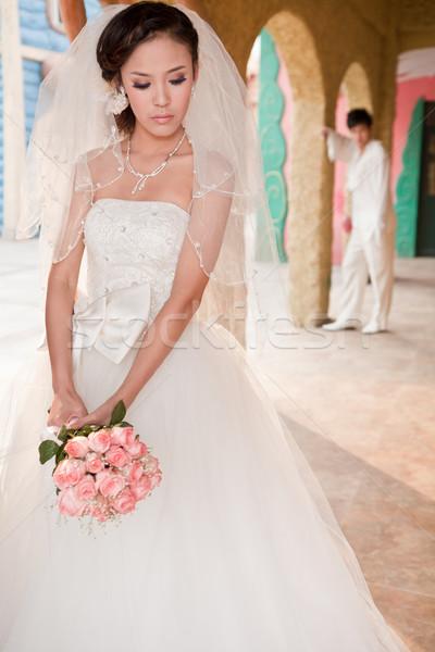 Bruiloft foto's jonge huwelijk witte jurk Stockfoto © wxin