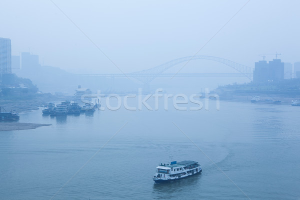 bridge crossing the river, heavy fog and haze Stock photo © wxin