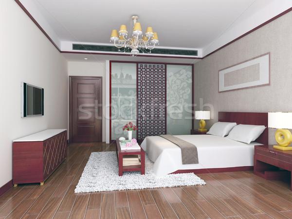 3D спальня современных дизайна интерьер Сток-фото © wxin