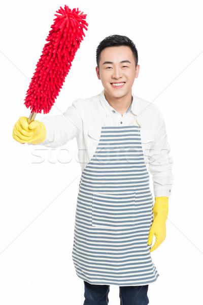 Mannelijke schonere foto schoonmaken huis man Stockfoto © wxin