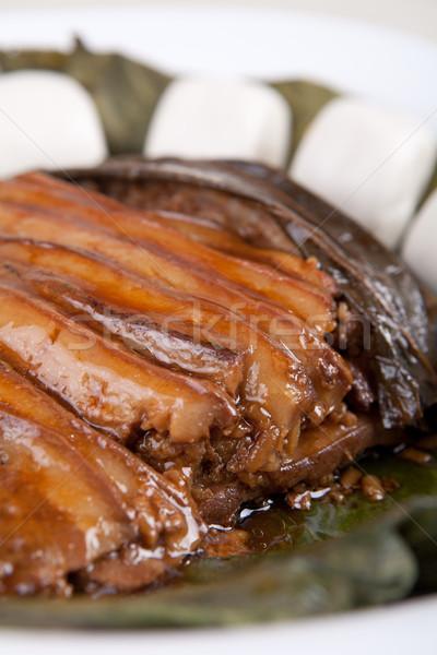 Vlees plaat plantaardige naast kok Stockfoto © wxin