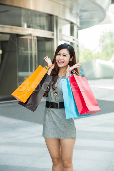 young woman shopping outside the mall Stock photo © wxin