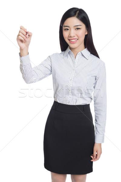 Jonge gelukkig zakenvrouw schrijven onzichtbaar scherm Stockfoto © wxin