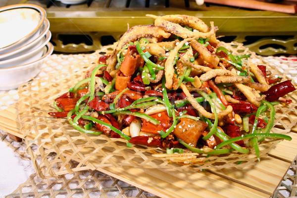 Kínai étel chili sült tintahal Kína finom Stock fotó © wxin