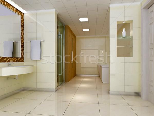 3D fürdőszoba modern terv belső elegáns Stock fotó © wxin