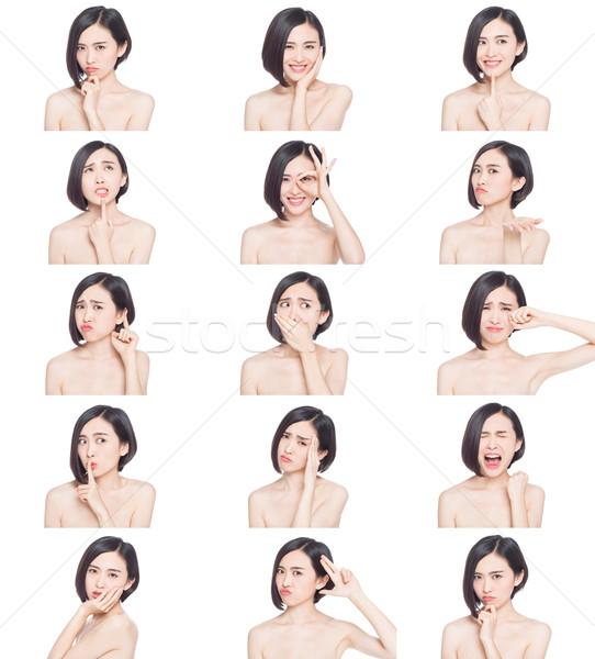 Chinês mulher expressões faciais colagem diferente sorrir Foto stock © wxin