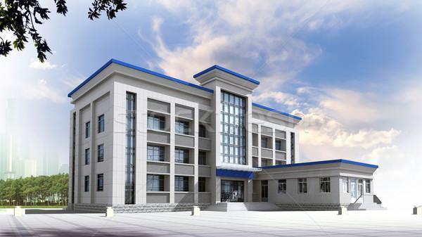 Stock fotó: 3D · építészeti · építkezés · irodaház · modern · város