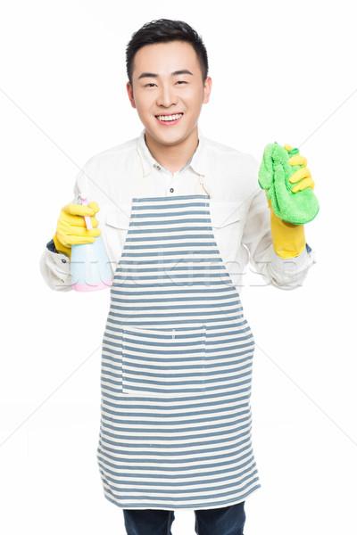 Fiatalember takarítás fehér férfiak áll izolált Stock fotó © wxin