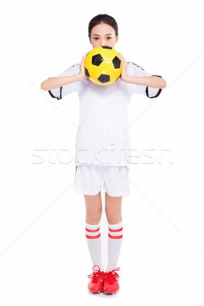 Nő futballabda gyönyörű ázsiai lány tart Stock fotó © wxin