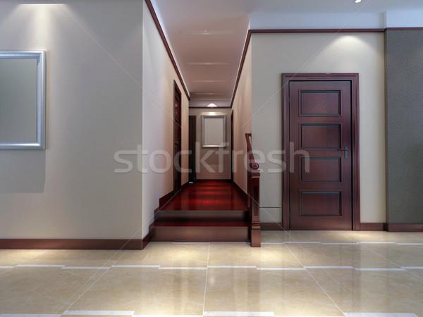 3d render modern belső folyosó nappali terv Stock fotó © wxin
