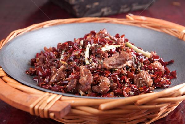Chili sült hús étel Kína étterem Stock fotó © wxin