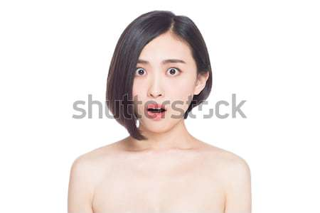 Chinois femme expressions faciales blanche sourire visage Photo stock © wxin