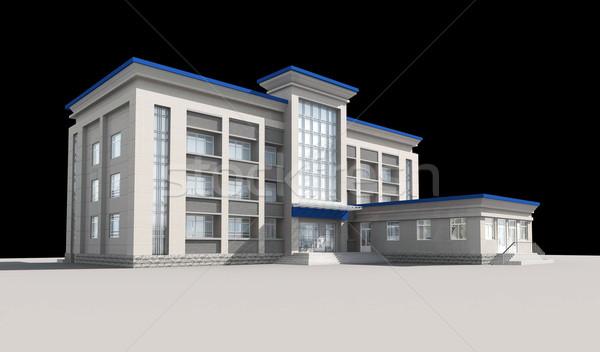 Stockfoto: 3D · bouwkundig · bouw · kantoorgebouw · moderne · stad