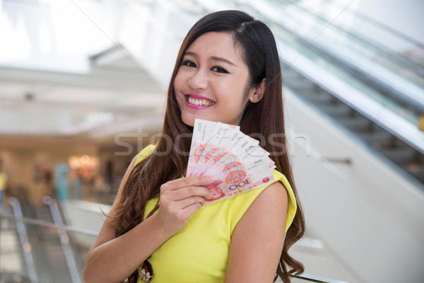 shopping woman with money bills Stock photo © wxin