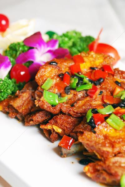 Stock fotó: Kína · finom · disznóhús · borda · étel · étterem